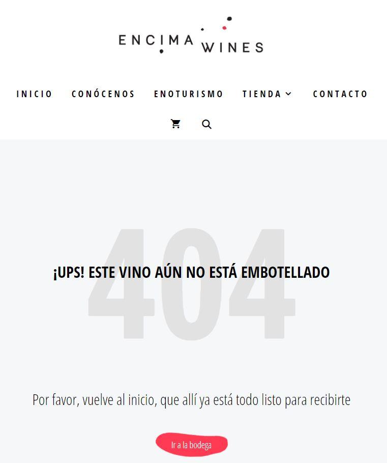 Ejemplo de Microcopy 404 Encima Wines_Patricia Suárez Copywriter
