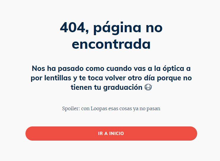 Ejemplo de Microcopy 404 Loopas_Patricia Suárez Copywriter