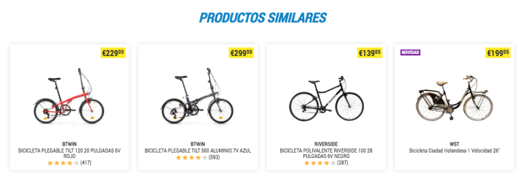 Fichas de producto productos similares